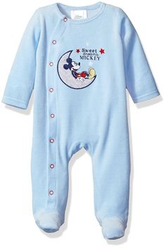 Disney Baby Boys' Mickey Mouse Velour Footie Sleeper, Skyway, 0-3 Months