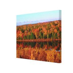 Mt. Katahdin Surrounding Autumn Scenery Gallery Wrapped Canvas Print by KJacksonPhotography --  Taken 10.12.2014 Salmon Stream Lake surrounded by the colorful canopy of autumn leaves of the forest just below Mt. Katahdin - brilliant dazzling reds,oranges and golds. The lake beautifully reflects the kaleidoscope of colors of this fall's vivid hues. From the I95 scenic turnout, mile marker 252 in Maine.PC:244.285 #nature #photography #autumn #mtkatahdin #canvasprint #canvasprints