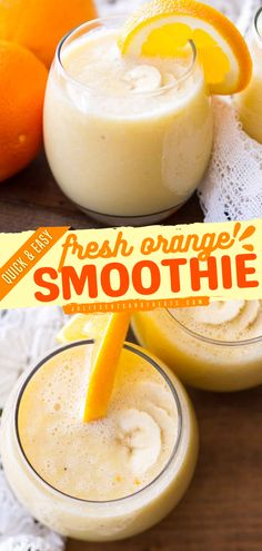 Cool off this summer with this fresh orange smoothie recipe. This easy summer drink is also a quick breakfast smoothie or snack. It's deliciously refreshing - perfect during the summer! Try this out! Peach Smoothie Recipes, Orange Smoothie, Healthy Smoothies, Drink Recipes, Milkshake Recipes, Breakfast Smoothies, Juice Recipes, Fruit Smoothies, Healthy Drinks