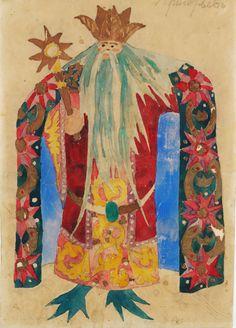 Costume design by Natalia Goncharova (1881-1962), 1916, Sadko King of the Sea, watercolor.