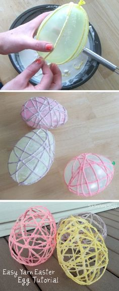 With a little bit of yarn and a balloon, you can create DIY Easter egg decor for your accent bowls!