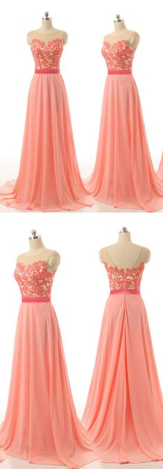 Light Coral Lace Chiffon Prom Dresses High Neck Long Bridesmaid Dresses,Cheap Bridesmaid Dress,Back V Bridesmaid Dresses 2017 Evening Prom Gowns
