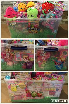 Shopkins Easter basket. There was so much it wouldn't all fit in regular basket so I used a tote and decorated it with shopkins wall clings. She can store everything in it after she opens it.
