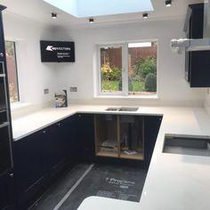 Aspen De Lusso- Harpenden, Herts - Rock and Co Granite Ltd U Shaped Kitchen, Window Sill, White Stone, Aspen, Granite, Design, U Shape Kitchen, Design Comics