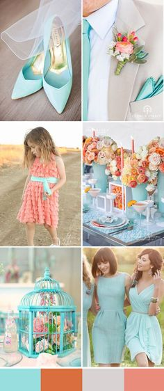 light blue and coral wedding trends for 2016 spring weddings: