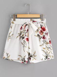 Self Tie Waist Floral Print ShortsFor Women-romwe