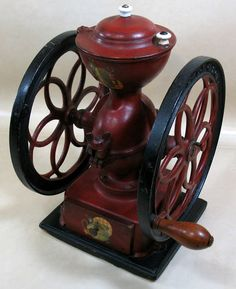 John Chatillon & Sons Cast Iron Red Double Wheel Coffee Grinder