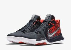 641a164aad8e Nike Chooses the Kyrie 3  Samurai  for Its Christmas Day Mystery Drop    Featuring a red blood-splatter pattern and silver samurai Swoosh.