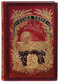 ≈ Beautiful Antique Books ≈L'Île Mystérieuse (The Mysterious Island) by Jules Verne. Hetzel. 1877.