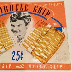 Vintage 1940s Miracle Grip Hair Combs - Deadstock