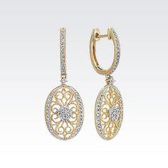 Round Diamond Dangle Vintage Earrings with Milgrain Details