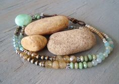 SALE 30% OFF Chrysoprase necklace 'RiverRock'  seafoam mint green, pyrite, citrine, amazonite, silver, butterfly, earthy boho chic, OOAK. $88.00, via Etsy.