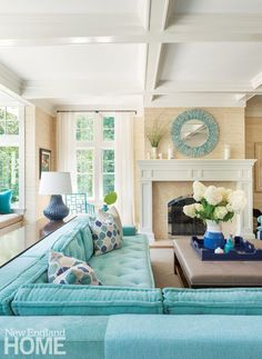beachy living room furniture coastal living room with turquoise sectional beach living room chairs Decor, Living Room Designs, Coastal Living Rooms, Coastal Bedrooms, Couches Living Room, Interior Design, Home Decor, Living Room Furniture, Room Decor