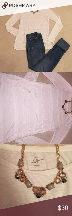Loft White Lace Long Sleeve White long sleeve with lace across the front from LOFT. Excellent condition ! Never worn! LOFT Tops Tees - Long Sleeve
