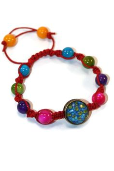 Nacre Floral Boho Bracelet Bracelet  by MaKatarinaCorner #bohobracelet , #bohojewelry , #shamballabracelet, #rainbowbracelet , #floralbracelet , #nacrebracelet , #macramebracelet, #wrapbracelet
