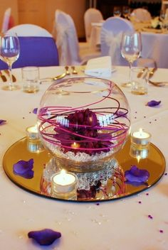 Glass Fish Bowls For Table Decorations Goldfish Bowl With Cala And Table Mirror  Flowers  Pinterest