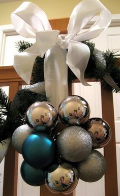 cluster of ornaments with ribbon for door or stair railing. EASY!!