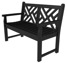 """Polywood CDB48BL Chippendale 48"""" Bench in Black"""