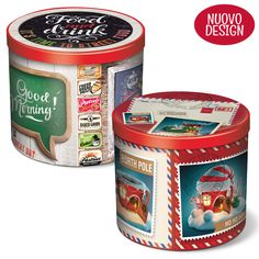 Pandoro in tin box Tin Boxes, Coffee Cans, Baked Goods, Canning, Gifts, Food, Outside Wood Stove, Morning Coffee, Bag Packaging