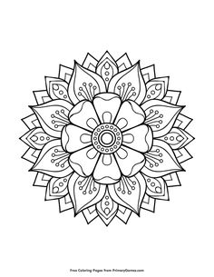 Free printable Mandalas Coloring Pages eBook for use in your classroom or home from PrimaryGames. Print and color this Floral Mandala coloring page.