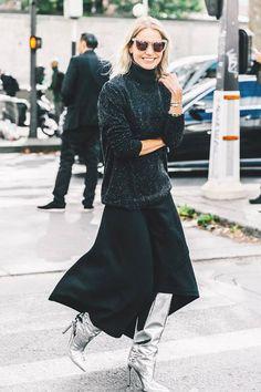 30  女士衣櫃裡不能缺少的氣質單品:經典黑色長裙造型提案