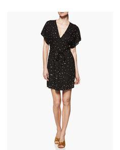 Cherelle Dress - Black Sandyshell Constellation Mini Dress With Sleeves de0a7dd05