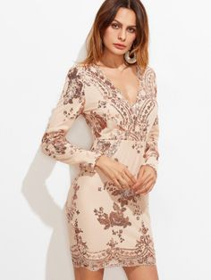 Pink Surplice Front Embroidered Sequin Dress
