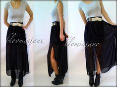 black chiffon maxi dress with belt,tea party dress $42 bloominjane.etsy.com