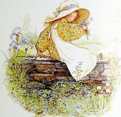 Holly Hobbie Fillette sur mur de pierre