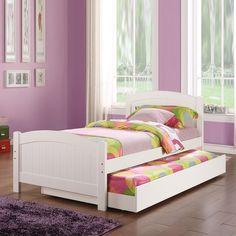 New Stylish Subtle Curve Cottage BeadBoard Paneling White Wood Twin Trundle Bed #CottageBedboard