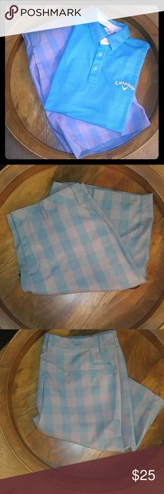 ADIDAS AQUA & GREY PLAID SHORTS ADIDAS AQUA & GREY PLAID SHORTS. In like new condition. Size. 38.   Adidas size chart:  http://m.adidas.com/us/help-section-size_charts.html Addidas Shorts