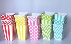 Popcorn Boxes Rainbow Favor Boxes Party Favors Polka Dot Chevron or Stripe Candy Boxes Nut Boxes Birthday Party Baby Shower Favor Bags