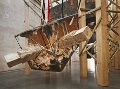 Phyllida Barlow untitled: dock: 5hungblocks (detail), 2013 Steel armature, polystyrene, plywood, cable ties, cement, PVA, polyurethane foam Approx. dims: 1250 x 800 x 1200 cm / 492 1/8 x 315 x 472 1/2 in  Installation view, 'dock', Duveen Commission, Tate Britain, London, England, 2014  Photo: Alex Delfanne