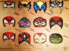 Found on Bing from www.pinterest.com Superhero Face Painting, Face Painting For Boys, Face Painting Designs, Paint Designs, Body Painting, Face Painting Tutorials, Mask Face Paint, Face Paint Makeup, Maquillage Halloween