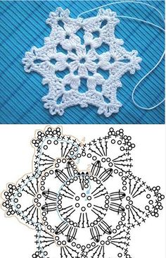 Wonderful DIY Crochet Snowflakes With Pattern - Szydełko Crochet Snowflake Pattern, Crochet Stars, Christmas Crochet Patterns, Holiday Crochet, Crochet Snowflakes, Crochet Flowers, Christmas Knitting, Diy Flowers, Crochet Diy