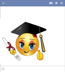 When congratulations are in order for a happy graduate, you can share this smiley on their Facebook timeline.