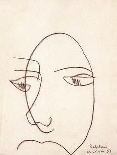 Henri Matisse. Portrait de Rabelais, Nice, 1951. Fusain (non fixé) sur papier, vélin filigrané. Musée Matisse, Nice.