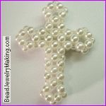 Pearl Beaded Cross ~ Free Tutorial at www.beadjewelrymaking.com