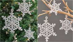 Crocheted lacy snowflakes ornaments look beautiful on the Christmas tree, but they can be also used to decorate your house as well. Their white color is a classic, but you can choose a color that fits your other Christmas tree decorations e.g. red or blue. You can use 3, 10 or 20 weight thread, it will be perfect to