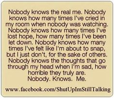 Nobody knows Me. How well do you really knoq aomeone??
