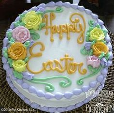 Easter Cake - I'd like a rose on my piece, it's all about the frosting...