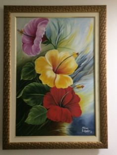 Hibiscos Coloridos Painting, Gold Photo Frames, Art Production, Fabrics, Flowers, Painting Art, Paintings, Painted Canvas, Drawings