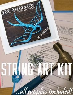 DIY String Art KIT  Vintage Swallow  All supplies by NineRed, $22.00