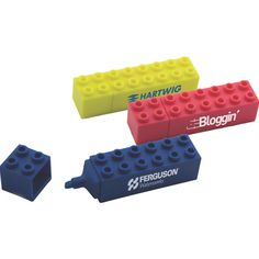 Building Block Highlighter...Build upon the success your organization has already achieved with our Building Block Highlighters. These unique highlighters are designed to resemble children's building blocks and will certainly add some fun to your work or school day. Available in pink, blue, and yellow, these special highlighters make great promotional products for schools and construction companies plus they come with your printed logo or special message.