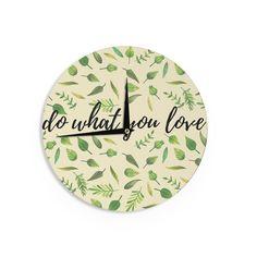 Kess InHouse Kess Original 'Do What You Love' Beige Wall Clock