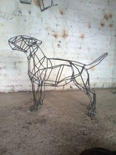 Mild steel #sculpture by #sculptor Emma Walker titled: 'BULL TERRIER mild steel bar life size'. #EmmaWalker