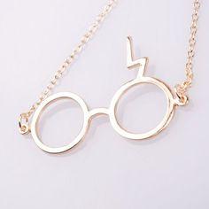 Harry Potter Lightning Bolt Scar Glasses Necklace