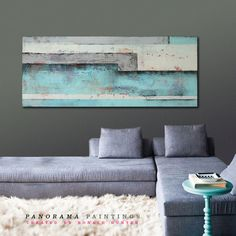 """Turquoise and Grey Landscape - Acrylic Modern Art - 59.1"""" x 23.6""""  Abstract Panorama Paintings                                                                                                                                                                                 More"""