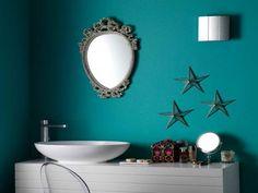 Coastal Bathroom Decor Blue Wall with Three Star