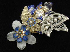STANLEY HAGLER N.Y.C. Pearl Rhinestone Crystal Butterfly Brooch OOAK